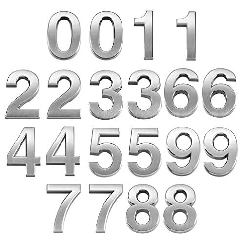 Yardwe 20 números de buzón de correo de 0 a 9 números de dirección de puerta de plata para domicilio de la calle, de la casa, de la oficina
