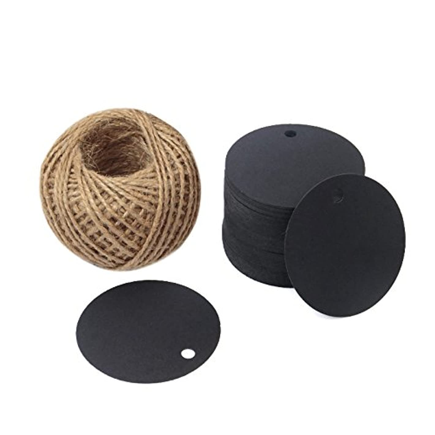 Kraft Paper Round Gift Tags,Gift Wrap Tags with String,Blank Hang Gift Tag,KINGLAKE 100 Pcs 5.5cm Wedding Craft Tags with 100 Feet Natural Jute Twine (Black)