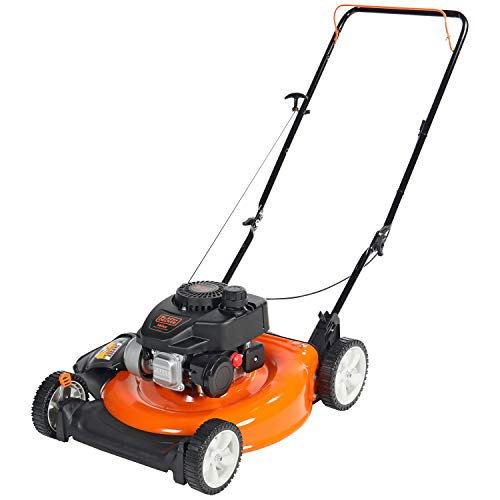 mulcher mowers BLACK+DECKER 140cc OHV 21-Inch 2-in-1 Walk-Behind Push Gas Powered Lawn Mower - Perfect for Small to Medium Sized Yards - Side Discharge and Mulching Capabilities, Black and Orange