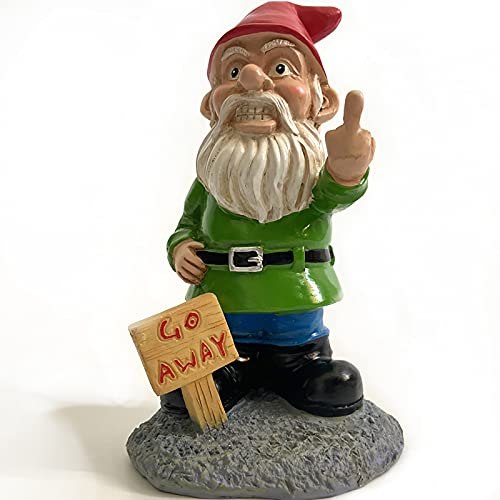 TY&WJ Divertido Jardín GNOME Estatua,Grosero Dedo Medio GNOME con Go Away Sign,Travieso Enano Figurine Ornamentos De Jardín para Césped Porche Decoración (Color : A)