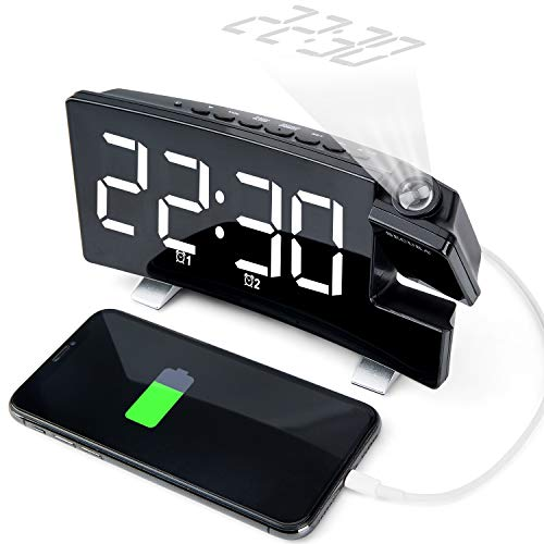 Secura Projection Alarm Clock, Radio Alarm Clock with Memory Function(Up to 15 FM), Dual Alarm with 4 Alarm Sounds, 5'' Curved LED Screen Display, 3 Dimmer, 12/24 Hour, USB Phone Charger