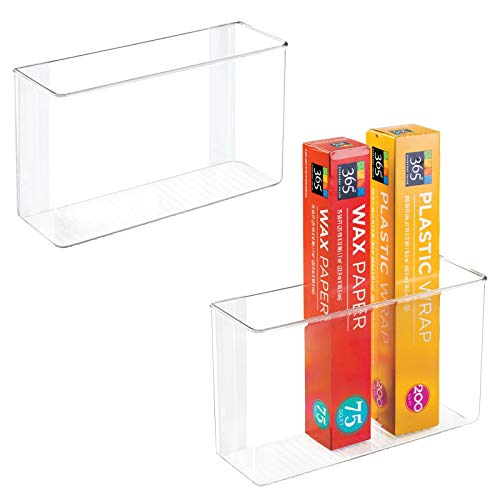 """mDesign Modern Plastic Adhesive Cabinet Storage Organizer Bin for Boxed Sandwich Bags, Plastic Wrap, Aluminum Foil, Parchment/Wax Paper, 3.5"""" x 11"""" x 6.5"""" - 2 Pack - Clear"""