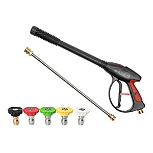MACHSWON 4000Psi M22 pistola de alta presión, kit de limpieza de coche con 1 varita extensible y 5 boquillas de conexión para coche, casa, jardín