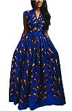FEIYOUNG Women's Sexy Dashiki Floral Printed Side Slit Long Maxi Dresses Bohemian High Waist Vestidos Blue