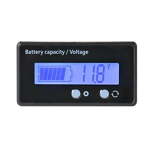 LCD Battery Capacity Monitor Gauge MeterWaterproof 12V/24V/36V/48V Lead Acid Battery Status IndicatorLithium Battery Capacity Tester Voltage Meter Monitor Blue Backlight for Vehicle Battery