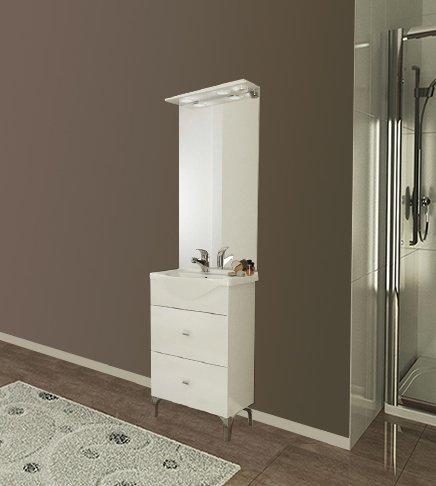 Moderne badkamerkast Moon wit met keramische wasbak en spiegel