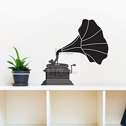 JXFM Grammofoon muursticker klassiek design decoratie platenspeler vinyl wandtattoo grote uitvinding muziek machine wandafbeelding 57x58 cm