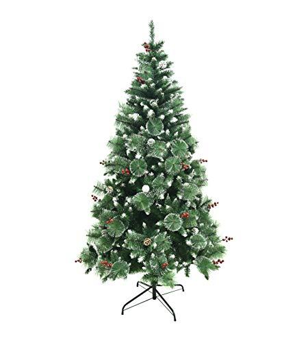 Shinefuture Albero di Natale Artificiale con pigne, 180/210 cm, Punte Appuntite e Abete Artificiale con Supporto in Metallo, Albero di Natale di Alta qualità (210cm)