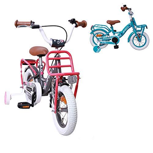 AMIGO Bloom - Kinderfiets - 12 inch - Meisjes - Met zijwieltjes en terugtraprem - Vanaf 3 jaar - Grijs
