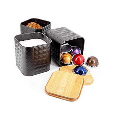 3er Set Vorratsdose Lebensmittel Aufbewahrungsbehälter mit Deckel Edelstahl Vorratsbehälter mit Deckel, Teedose, Kaffeedose, Zuckerdose, Keksdose, Tee Behälter, Frischhaltedose schwarz