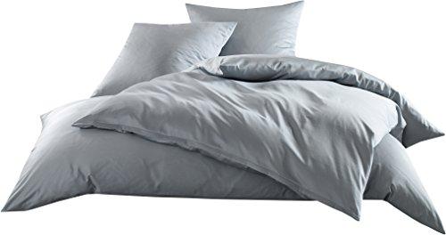Mako-Satin Baumwollsatin Bettwäsche Uni einfarbig zum Kombinieren (Bettbezug 135 cm x 200 cm, Grau)