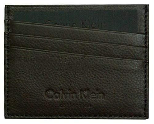 Calvin Klein Collection - Tarjetero de piel para hombre y mujer, color negro y marrón