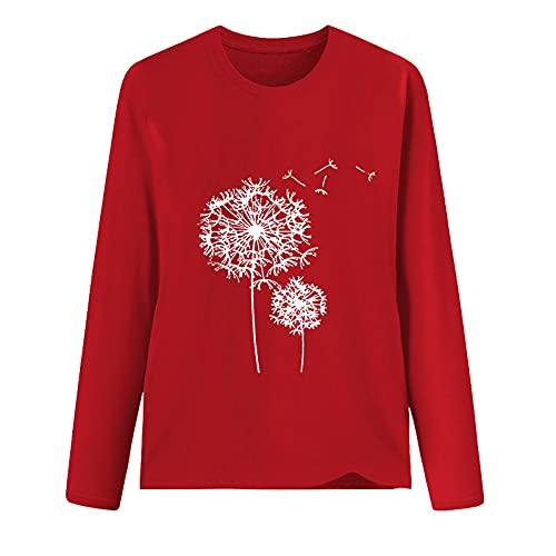 Camisetas de manga larga para mujer, impresión gráfica, cuello en O, blusas de verano, casual, ajuste holgado, para invierno, otoño, rosso, S