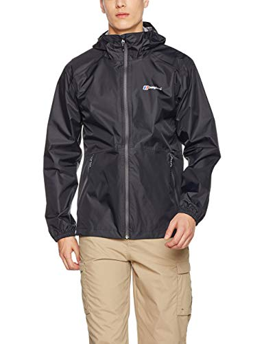 Berghaus Men's Deluge Light Waterproof Shell Jacket, Black/Black, X-Large