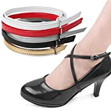 Las correas desmontables de las correas del zapato de las mujeres, señora zapatos de tacón alto anti-sueltan los accesorios del cordón con la hebilla 1 par (Color : Leather Black)