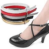 Las correas desmontables de las correas del zapato de las mujeres, señora zapatos de tacón alto anti-sueltan los accesorios del cordón con la hebilla 1 par (Color : Leather Black)