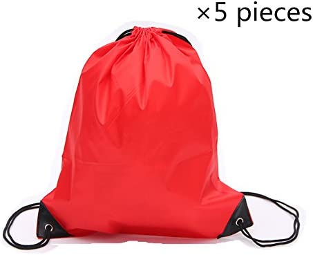 Sechunk 5 Pieces Drawstring Bag 210D polyester rope bag pulling nylon Oxford pocket Sack Cinch product image