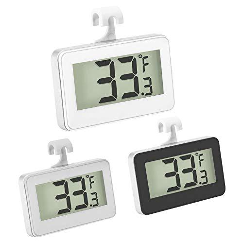 ZHITING 3 Stücke Kühlschrank Thermometer Digital Gefrierschrank Thermometer LCD Anzeige Wasserdicht Fridge Thermomètre mit Haken zum Ablesen der Temperatur(black+white+grey)