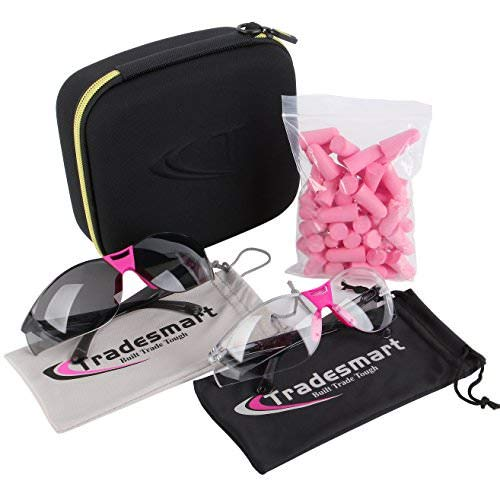 TRADESMART Pink/Clear & Tinted Safety Glasses Pink Pack with NRR33 Earplugs & Protective Case Anti Fog & Anti Scratch Treatment