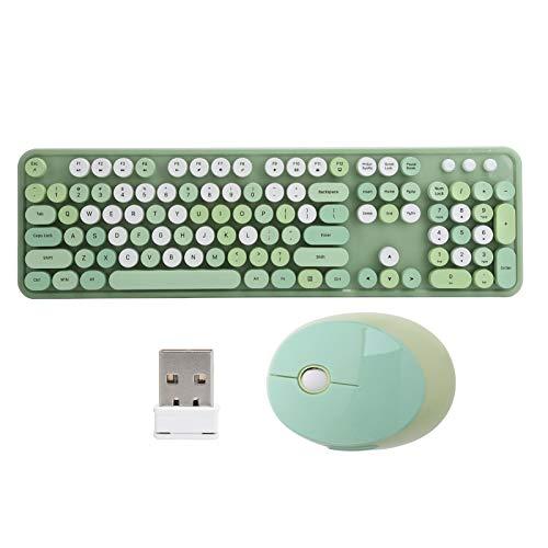 Tastiera e mouse, set tastiera e mouse wireless, tastiera da 104 tasti, cordless ergonomico da 2,4 Ghz, stile retro macchina da scrivere per notebook desktop(Colore misto verde)