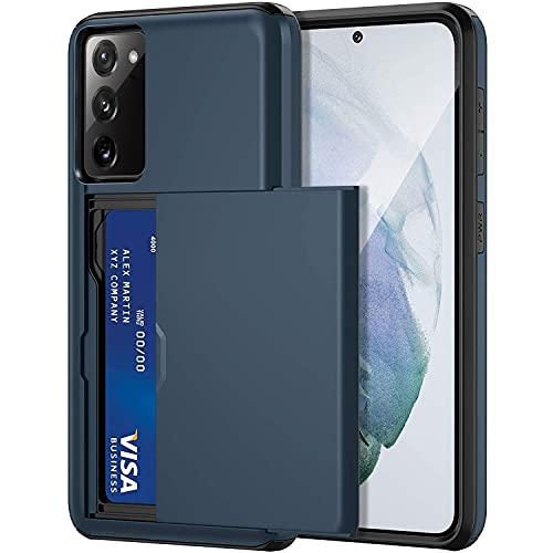 Rugged Handyhüllen für Samsung Galaxy S20 FE Hülle Ultra dünn [Kartenfächer] Aluminiumlegierung Rüstung Schutzhülle stoßfeste Stoßstangen Hülle Cover Etui für S20 FE 5G (Blau, S20 FE)