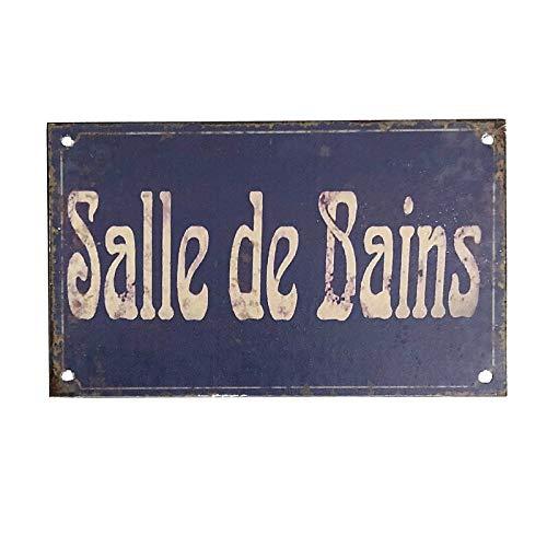 chemin_de_campagne Plaque de Porte Salle de Bain Fer Style Ancien Bleu Rectangulaire 12.50 cm