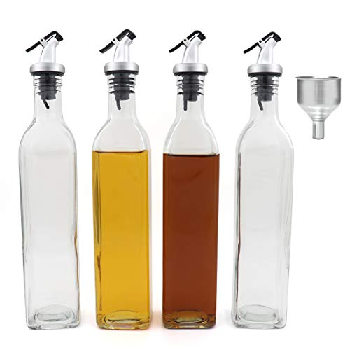 FARI Olive Oil Dispenser Bottles - 4 Pack of 17 Oz Glass Cooking Oil and Vinegar Cruet No Drip with Stainless Steel Funnel (4)