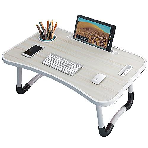 LJFYXZ Escritorio de Estudio Mesa de Cama para portátil Escritorio de pie portátil Plegable con Ranura para Taza y asa Soporte para portátil para sofá, Cama, terraza, balcón, jardín 60x4(Color:White)
