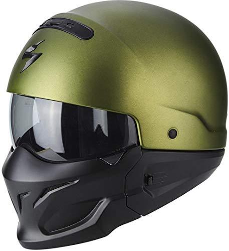 Scorpion Jet Casco Exo de Combat Solid Verde Mate motocicleta casco modular con extraíble barbilla notebook