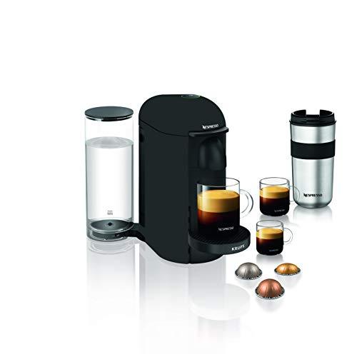 Krups Vertuo Plus noir mat Machine expresso, Nespresso, Machine à café, Cafetière expresso, 5 tailles de tasses, 1,8L, Capsule de café, Espresso YY3922FD