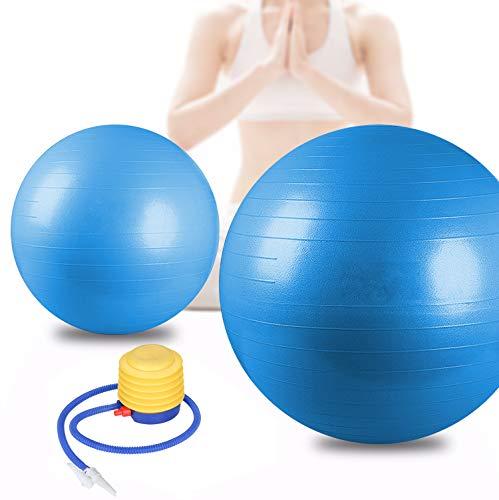 BMOT Gymnastikball inkl Ballpumpe, Fitnessball , Yogaball Pilates-Ball Robuster,Balance Ball bis 300kg für Core Strength Beckenübungen Sitzball Blau 65cm