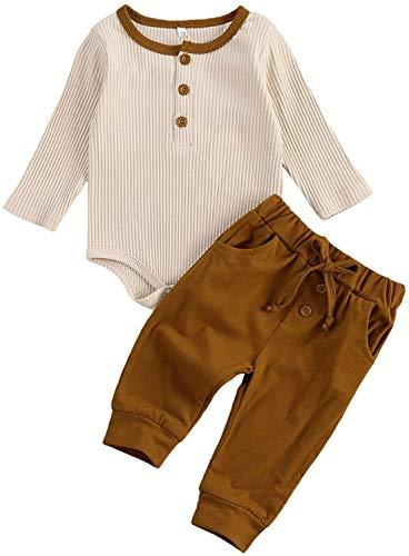 Conjunto de Ropa de Pijama de pantalón de bebé recién Nacido de Manga Larga Mono de Mameluco con cordón (Khaki,0-3 Meses)