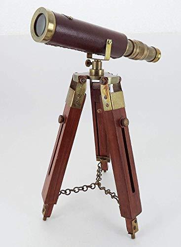Shiv Shakti Enterprises Télescope nautique sur pied en laiton antique avec trépied réglable en bois