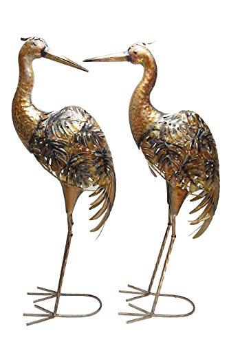 BOLTZE Gartenfigur Kranich Bali Metall Figur kupfer Gartendeko Vogel H 78 cm 2 er Set
