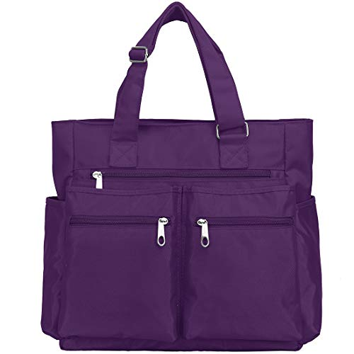 Canvas Tote Bag Waterproof Nylon Multi Pocket Shoulder Bags Laptop Work Bag Teacher Purse and Handbags for Women & Men (Purple-new)