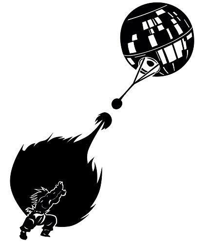 Dan's Decals Goku and Death Star Inspired Decal, H 12 by L 7.5 Inches, Larger Sizes (H 12 by L 7.5 Inches, Black)