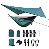 Panonw Hamaca de viaje, hamaca de camping con red de insectos y correas de árbol, nailon portátil para exteriores, mochileros de supervivencia y viajes