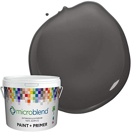 Microblend Exterior Paint and Primer - Dark Gray/Thorwood, Flat Sheen, Quart, Premium Quality, One Coat Hide, Low VOC, Washable, Microblend Country Collection