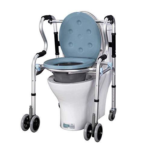 WUYUESUN Silla de ducha con ruedas de lujo, silla de baño acolchada para personas mayores, para discapacitados y discapacitados, inodoro para uso en mesita de noche, cómoda de noche