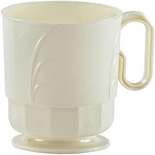 Hanna K. Signature Collection Elegance 40 Count Plastic Coffee Mug, 8-Ounce, Ivory