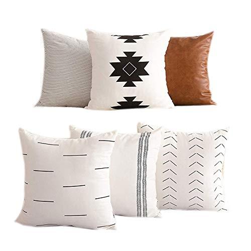 NEYOANN Las fundas de almohada decorativas solo son adecuadas para sofás, sofás o juegos de cama de 6 piezas de 45,7 x 45,7 cm, diseño moderno de calidad
