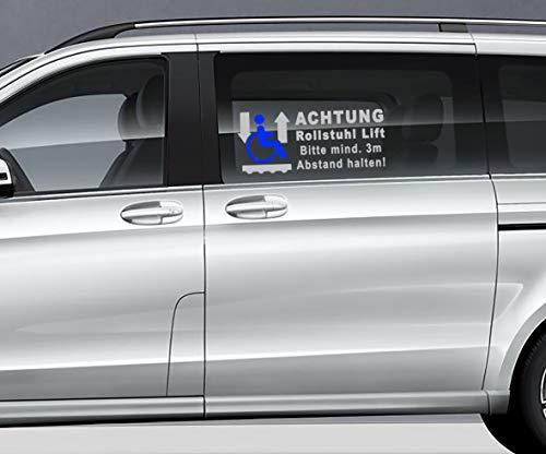 MS Car Sticker Achtung Rollstuhl Lift Bitte Mind. 3 Meter Abstand halten! Aufkleber Konturgeschnitten (Silber - blau, 58x24cm)