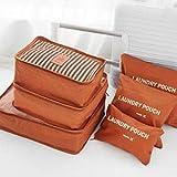 Greatangle - Juego de 6 bolsas de almacenamiento de viaje para organizar la ropa, el armario, la maleta, la bolsa de viaje organizadora de viaje, bolsa de embalaje, cubo de embalaje, color naranja