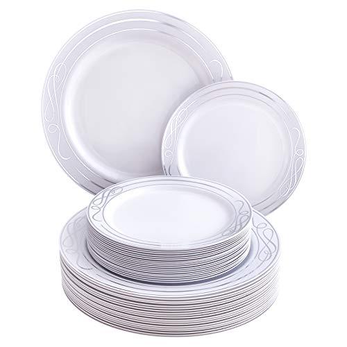 Silver Spoons Dinnerware Set VAJILLA DESECHABLE DE 40 Piezas Platos Grandes | 20 Ensalada...