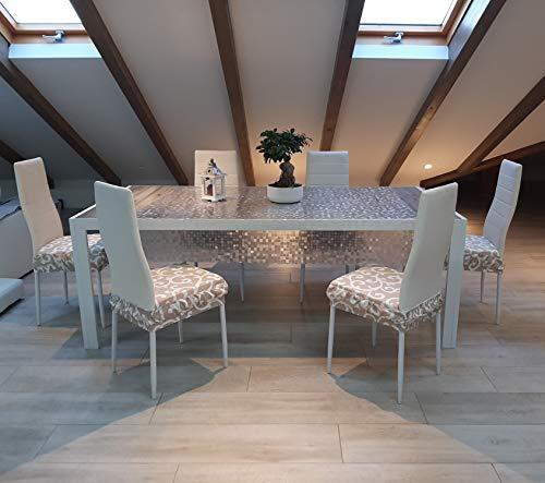 Juego de 2 cojines para silla de cocina, blancos, acolchados, cómodos, para sillas de comedor, 40 x 40 cm, cuadrados, universales, con elástico, desenfundable y lavable