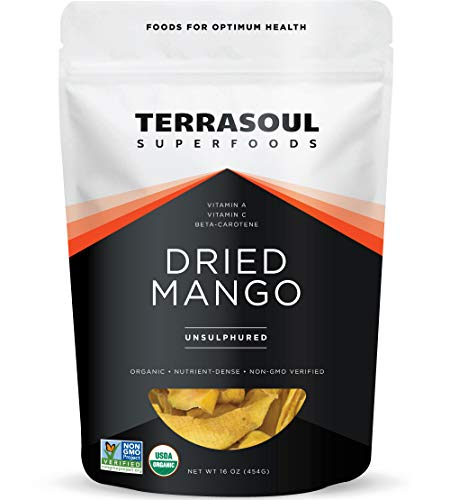 Terrasoul Superfoods Organic Dried Mango Slices, 16 Oz - Naturally Sweet & Tart | Healthy Prebiotic