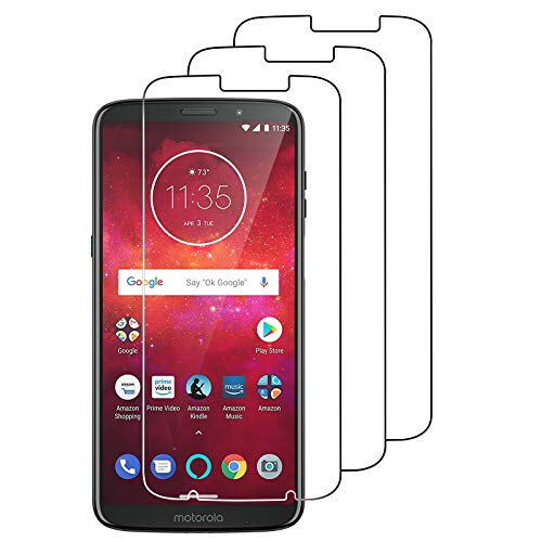 [3 Pack] Moto Z3 / Moto Z3 Play Screen Protector Tempered Glass,Coolpow [9H Hardness][Ultra Clear][Anti Scratch][Bubble Free] Tempered Glass Screen Protector Film for Motorola Moto Z3 Play 2018
