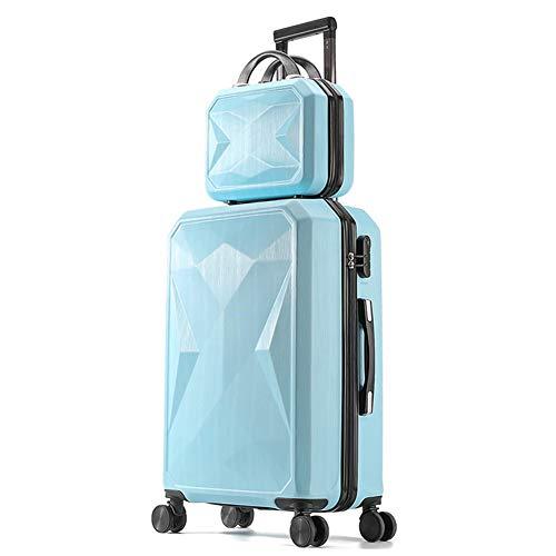 HLXB Hartschalenkoffer mit Spinnrollen, stylischer diamantgeschliffener Koffer, Kratzfest und Abriebfest, Kofferset 2 teilig mit Beautycase