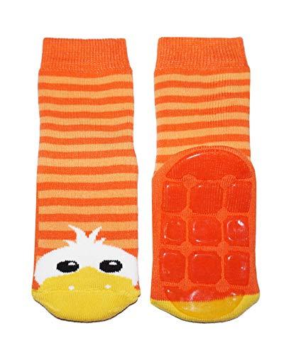 Weri Spezials Baby und Kinder Stoppersocken Enten Motiv für Mädchen und Jungen in 8 tollen Farben, Voll-ABS Antirutschsohle Anti-Rutsch (35-38, Orange)