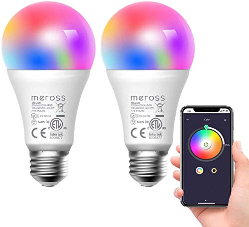 Bombilla LED Inteligente, Wi-Fi Bombilla, Luces Cálidas/Frías RGB, Lámpara Regulable, Multicolor, 60W Equivalente, E27, 2700-6500K, Compatible con Alexa,Google Home y SmartThings, Meross